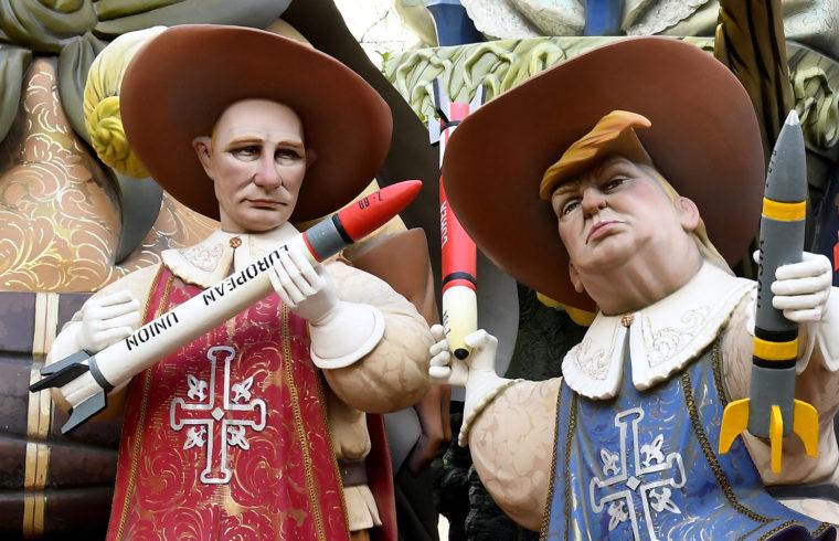 Putyin és Trump figurái a spanyolországi Fallas fesztiválon Valenciában, 2018-ban #moszkvater