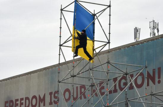 """""""A szabadság a mi vallásunk"""" felirat a kijevi Függetlenség téren 2018. március 18-án #moszkvater"""