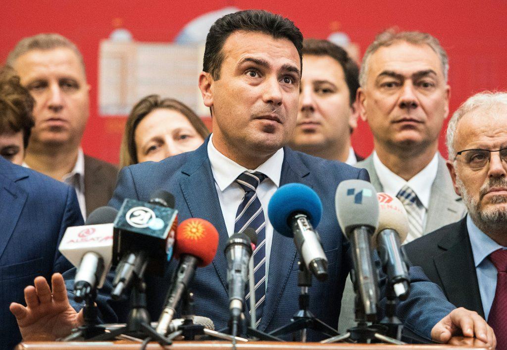 Zoran Zaev macedón miniszterelnök az ország névváltoztatásának parlamenti szavazása után tartott sajtótájékoztatón 2018. október 19-én #moszkvater