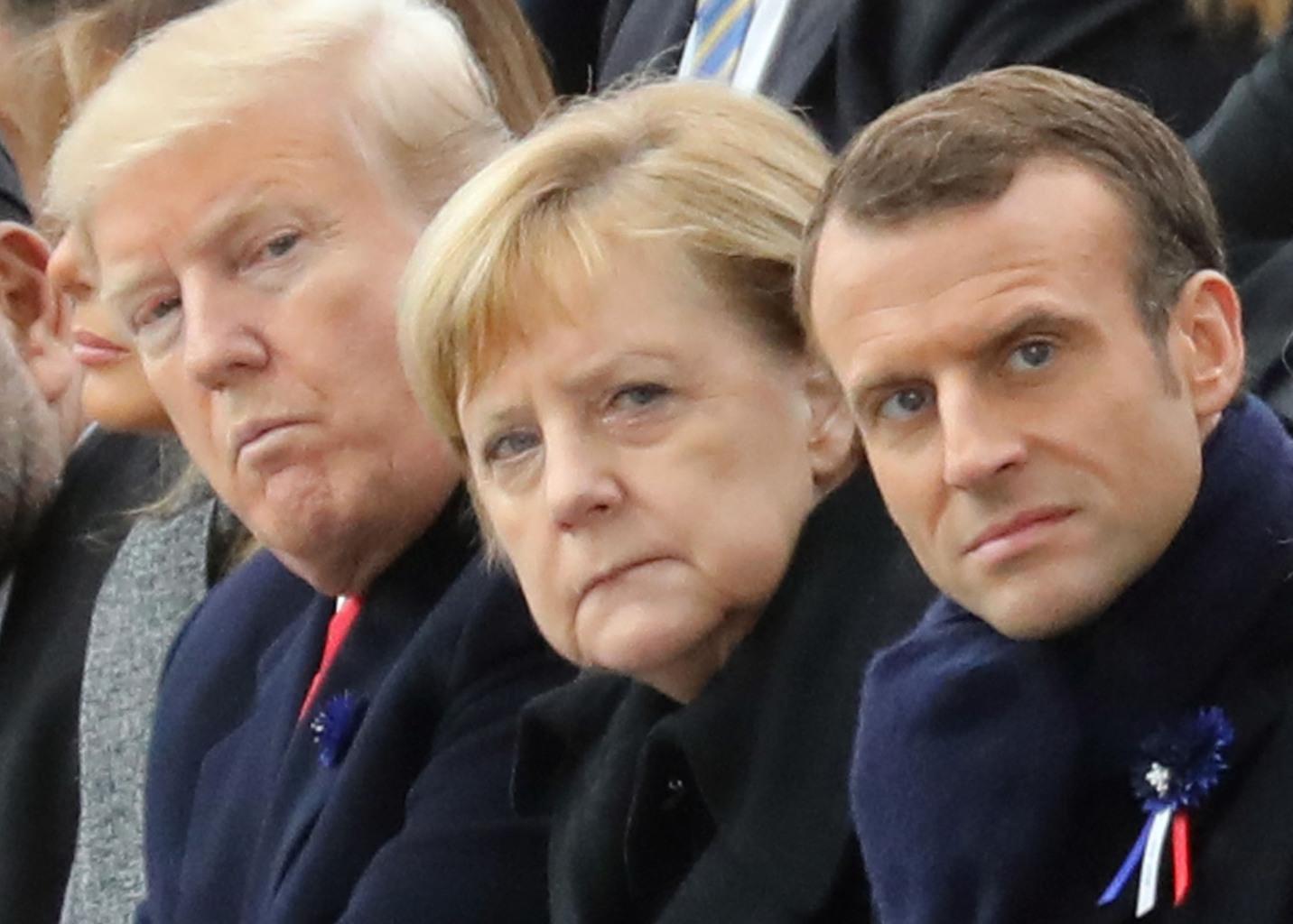 """Donald Trump, Angela Merkel és Emmanuel Macron. """"Trump és Macron nyitna Moszkva felé, a G7-es meghívóhoz kapcsolódó viták azonban igazolják a Kreml óvatosságát és bizalmatlanságát"""" #moszkvater"""