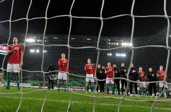 A magyar válogatott a himnuszok alatt a Magyarország Finnország barátságos mérkőzés kezdetekor 2018-ban #moszkvater