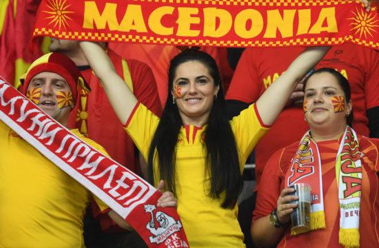 Macedón szurkolók a kézilabda világbajnokság második csoportkörében Münchenben, ahol a bahreini válogatottat győzték le 2019. január 13-án #moszkvater