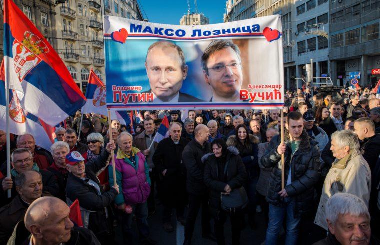 Szimpatizénsok felvonulása Belgrádban, 2019. január 17-én, Vlagyimir Putyin orosz elnök szerbiai látogatása idején #moszkvater