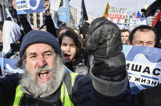 Az orosz internettörvény ellen tüntetnek Moszkvában 2019. március 10-én #moszkvater