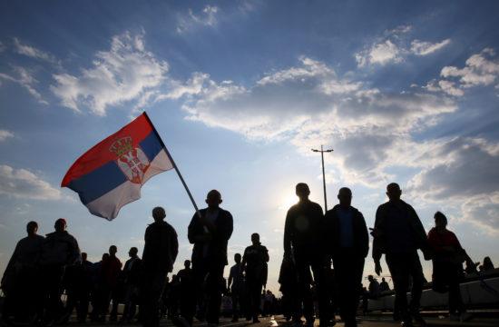 Alekszandar Vucsics támogatói demonstrálnak Belgrádban 2019. április 19-én #moszkvater