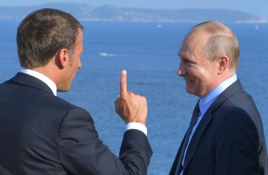 Emmanuel Macron és Vlagyimir Putyin találkozója a G7-ek franciaországi megbeszélésén 2019. augusztus 19-én #moszkvater