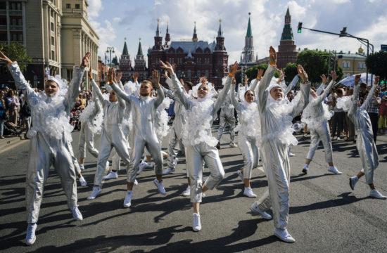 Látványos utcai performanszokkal ünnepelte Moszkva 872-ik születésnapját 2019. szeptember 7-én #moszkvater