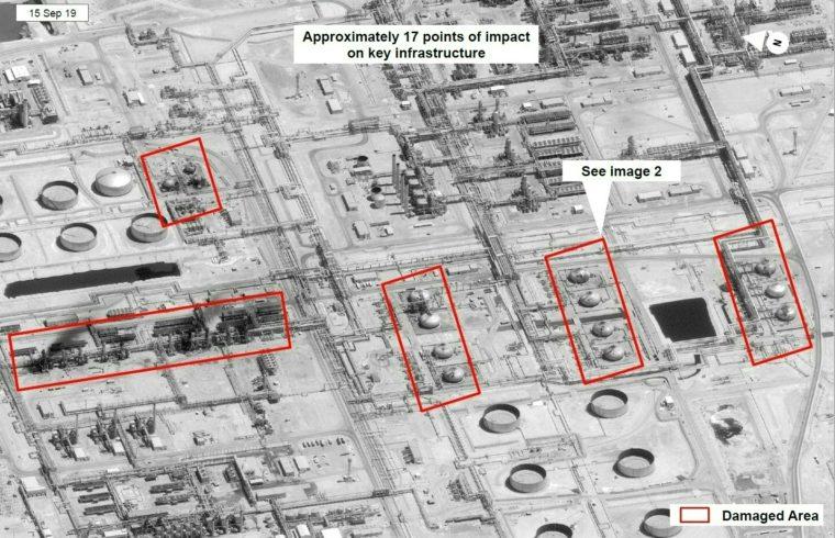 2019. szeptember 16-án készült műholdkép a szaúd-arábiábai Abqaig olajfinomítóját szeptember 15-én ért dróntámadásról Fotó:EUROPRESS/HO/US Government/AFP #moszkvater