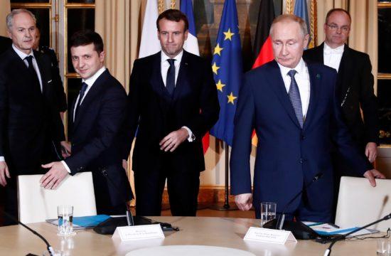 Emmanuel Macron francia elnök fogadta Volodimir Zelenszkijt és Vlagyimir Putyint, akik az orosz-ukrán kapcsolatokról egyeztettek Párizsban, az Elysée palotában 2019. december 9-én #moszkvater