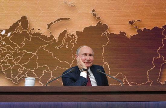Vlagyimir Putyin a szokásos éves sajtótájékoztatóján Moszkvában 2019. december 19-én #moszkvater