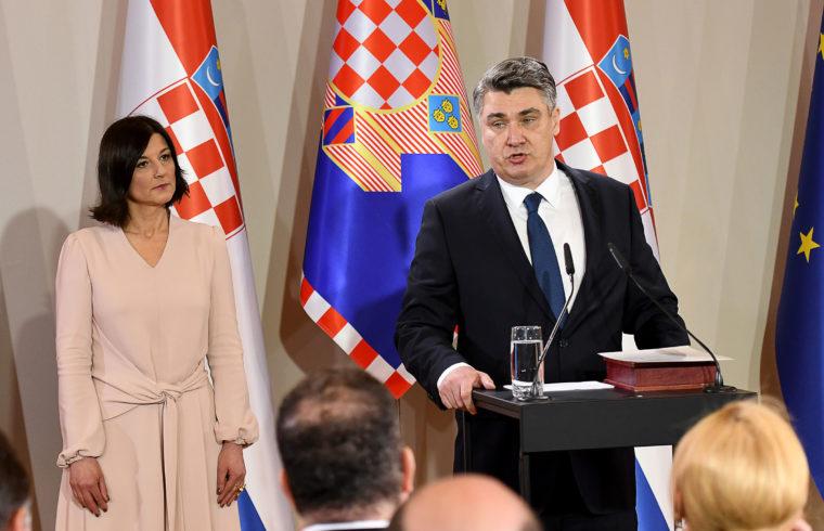 Zoran Milanović horvát köztársasági elnök szűk körű beiktatása Zágrábban, 2020. február 18-án. Mellette felesége, Sania Milanović #moszkvater