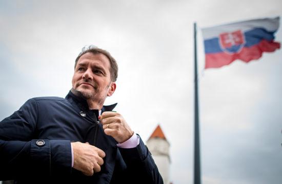 Igor Matovic a választásokon győztes OĽaNO párt vezetője Pozsonyban 2020. március 1-én #moszkvater