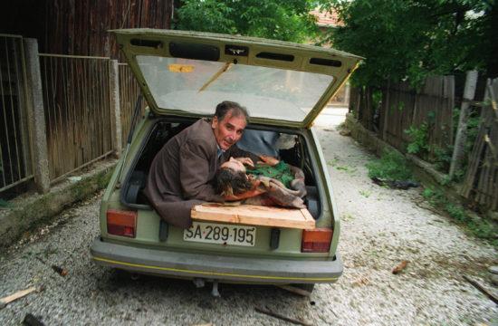Egy férfi egy súlyosan sérült nőt visz kórházba az autójában Szarajevóban 1992. június 27-én #moszkvater