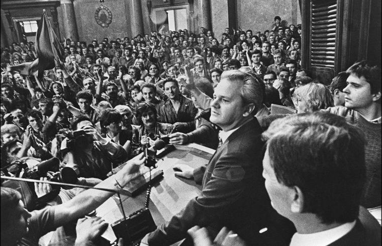 Szlobodan Milosevics a szerb kommunista párt vezetője beszédet tart munkásoknak Zágrábban, 1991. október 8-án #moszkvater