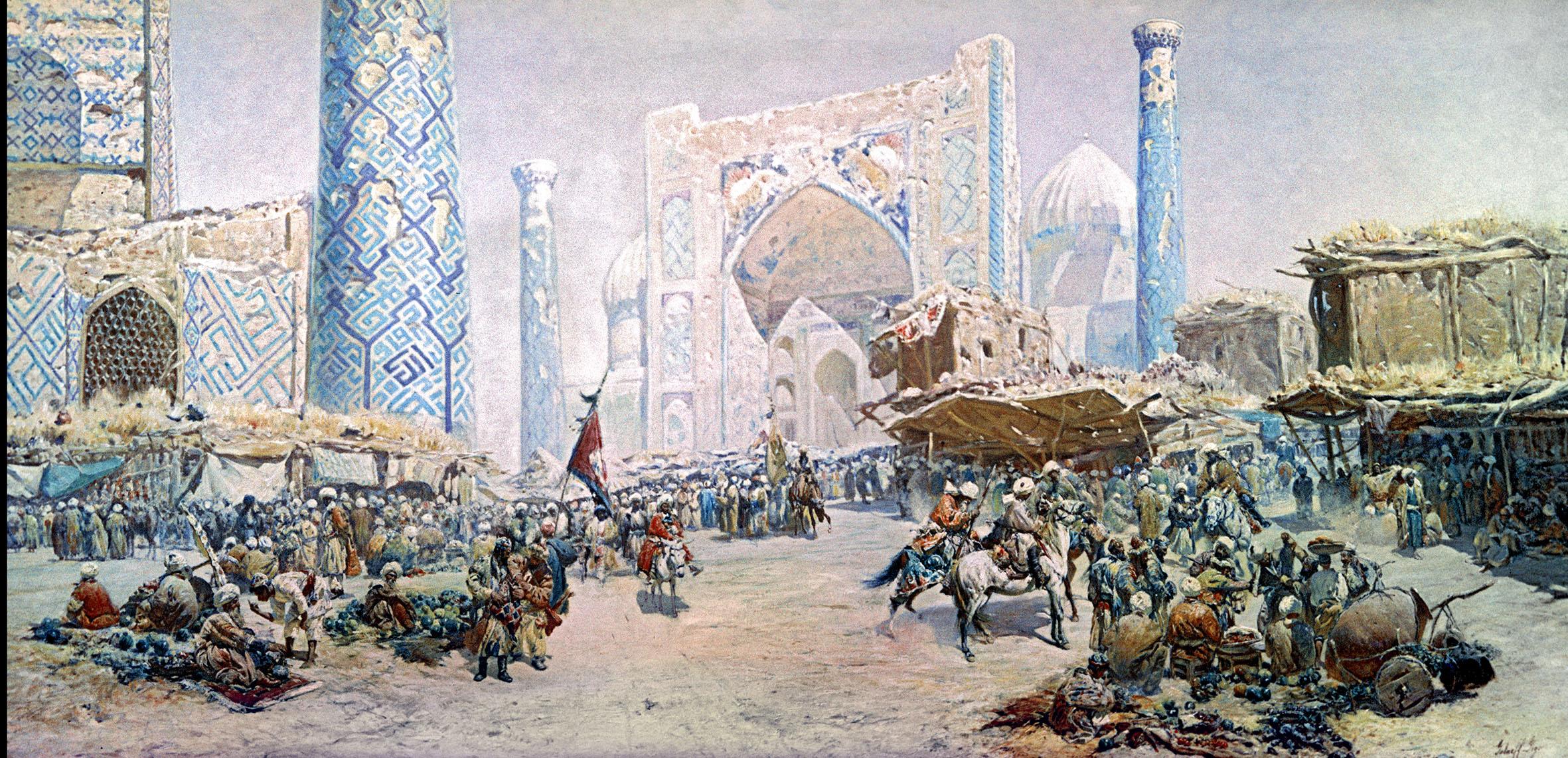 """""""A szamarkandi bazár"""" Georgy Gabanashvili festményén #moszkvater"""