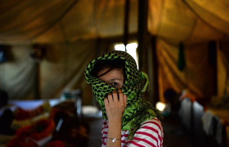 Menekült asszony a Goljanovo kerületi menekülttáborban Moszkvában #moszkvater