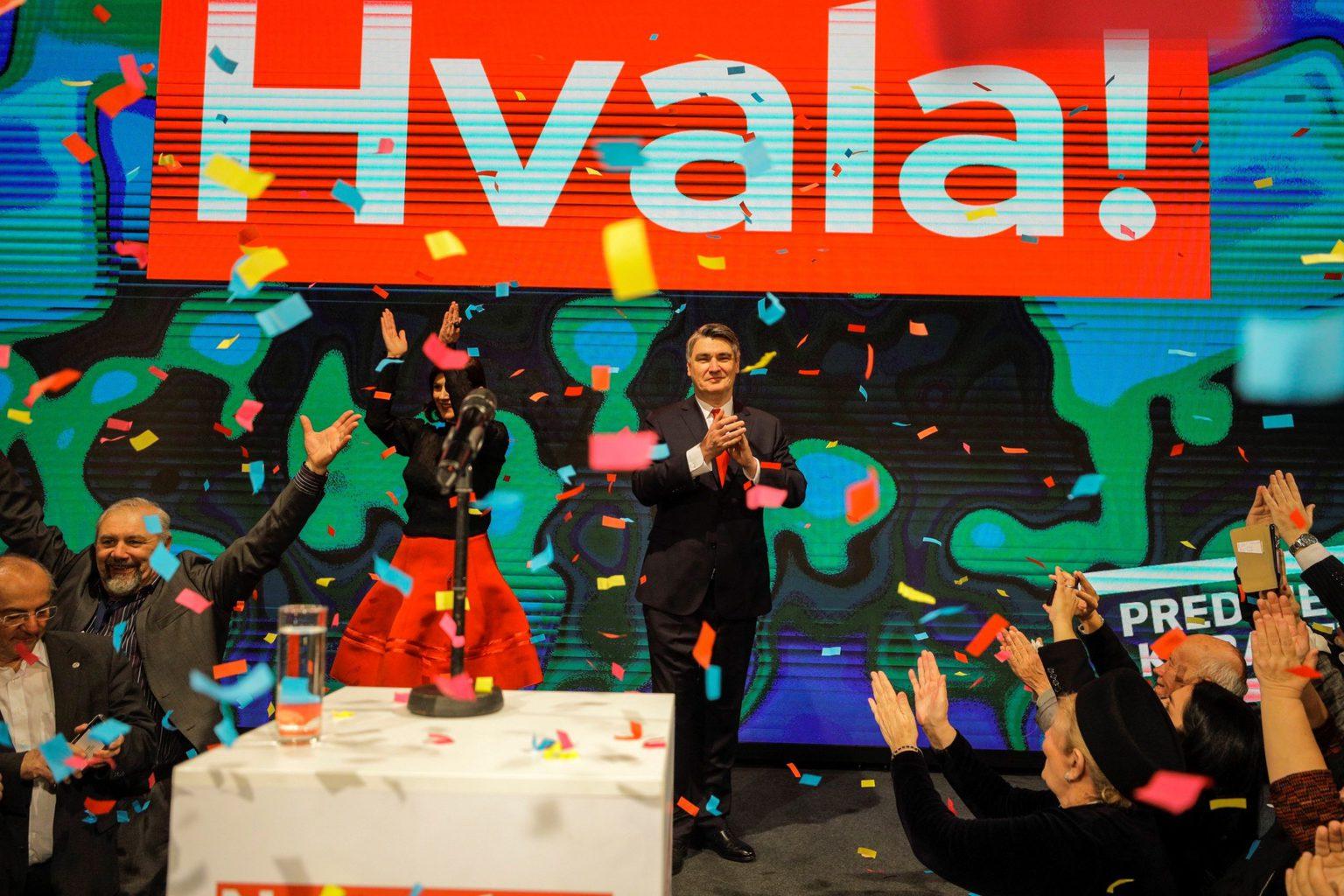 Zoran Milanović ünnepli választási győzelmét Zágrábban 2020. január 5-én #moszkvater