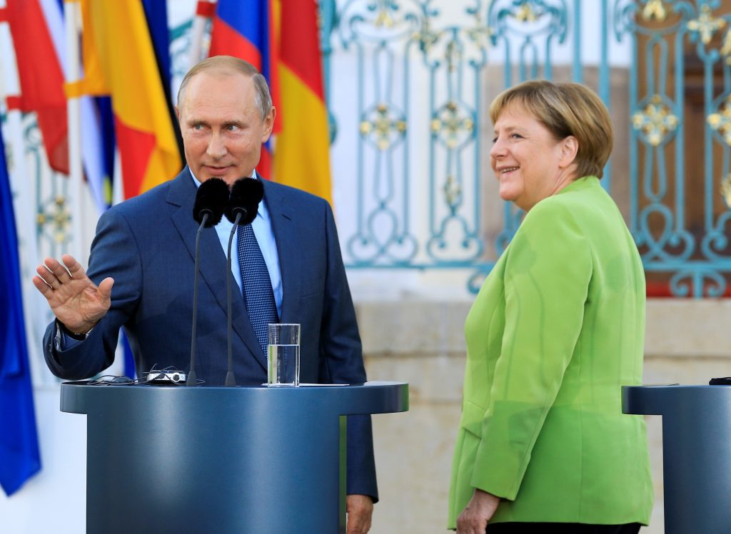 Vlagyimir Putyin és Angela Merkel találkozója Granseban, a Meseberg kastélyban Berlin közelében 2018. augusztus 18-án #moszkvater