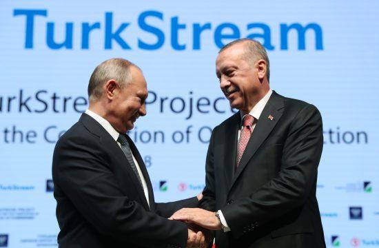 Vlagyimir Putyin orosz és Recep Tayyip Erdogan török államfő Isztambulban, a Török Áramlat földgázvezeték utolsó fekete-tengeri szakaszának átadásán 2018. november 19-én #moszkvater