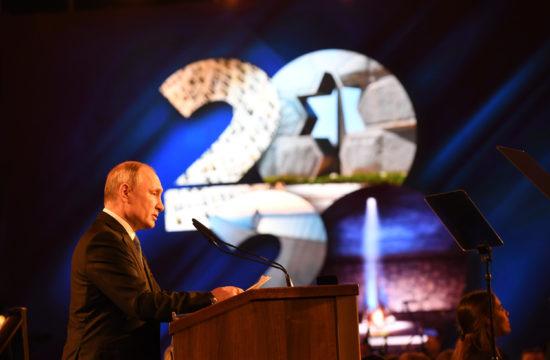 Vlagyimir Putyin orosz elnök beszél az 5. Holokauszt Fórumon, a jeruzsálemi Yad Vashem múzeumban 2020. január 23-án #moszkvater