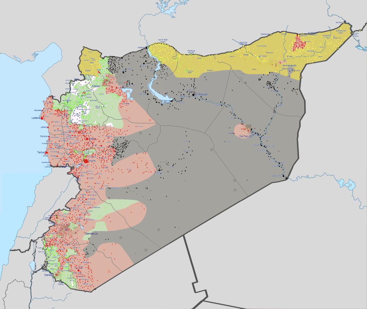 A szíriai polgárháború állása 2015 szeptemberében, pirossal jelölve a kormányerők, feketével az Iszlám Állam, sárgával a kurd, zölddel a különböző, főként radikális iszlamista szervezetek által ellenőrzött területeket. #moszkvater