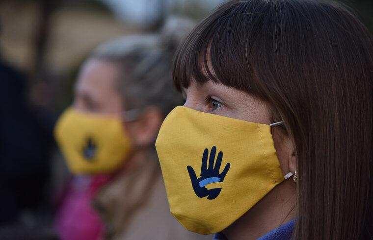 """A """"tiszta választásért"""" feliratú maszkban tüntetnek Lvivben 2020. október 22-én #moszkvater"""