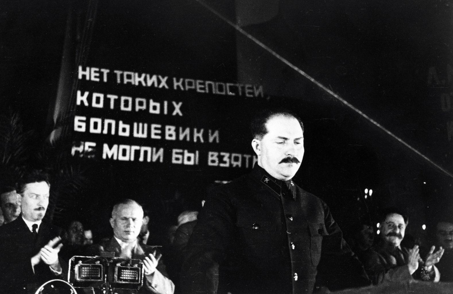 Kaganovics a moszkvai metró első állomásának átadásán 1935- szeptemberében #moszkvater
