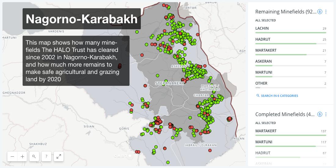 A karabahi örmény területet körbevevő aknamezők, pirossal a már felszámoltak, zölddel az aktívak #moszkvater