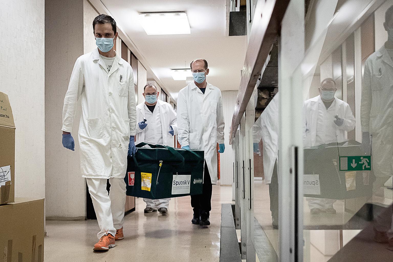 Laboratóriumi asszisztensek egy Oroszországból érkezett Szputnyik-V koronavírus elleni oltóanyagot tartalmazó táskát visznek 2020. november 11-én Budapesten Fotó:EUROPRESS/AFP/Magyar Külgazdasági és Külügyminisztérium #moszkvater