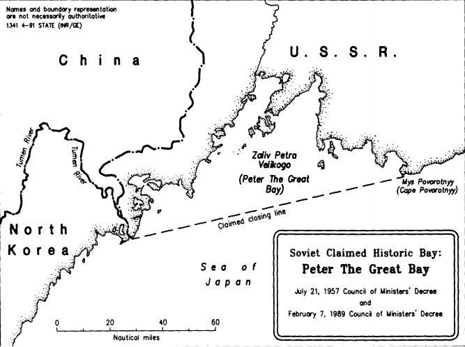 Hidegháborús amerikai térkép a Nagy Péter-öbölről. A szaggatott vonal az 1957-es minisztertanácsi rendelet alapján kijelölt tengeri határt jelöli #moszkvater