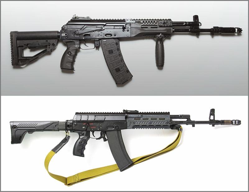 Az AK-12 hadrendbe állított verziója és a végül elkaszált eredeti prototípus 2012-ből. Ahogy az összehasonlítás is mutatja a védelmi minisztérium konzervatívabb hozzáállása érvényesült, a korábbiakhoz sokkal hasonlóbb fegyvert eredményezve #moszkvater