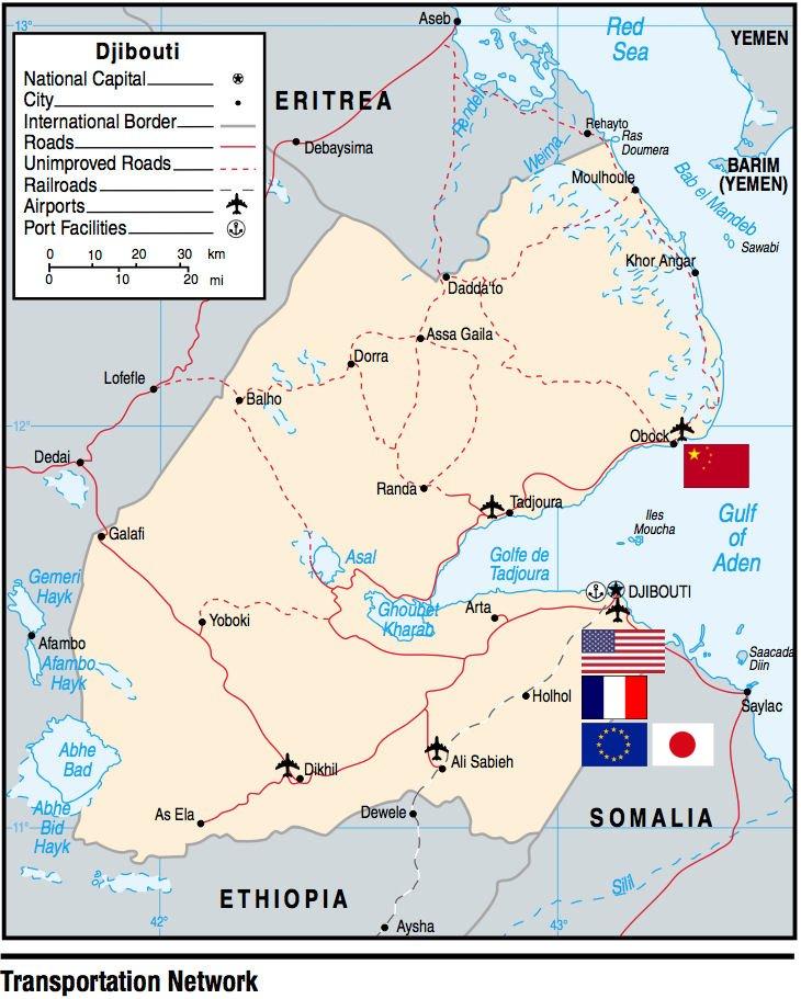 A Dzsibuti területén fekvő katonai bázisok elhelyezkedése #moszkvater