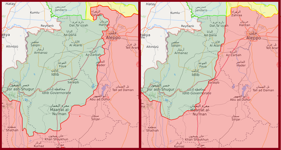 Az idlibi front egy éve és ma (piros: szíriai kormányerők, zöld: török és iszlamista erők, sárga: kurdok) #moszkvater