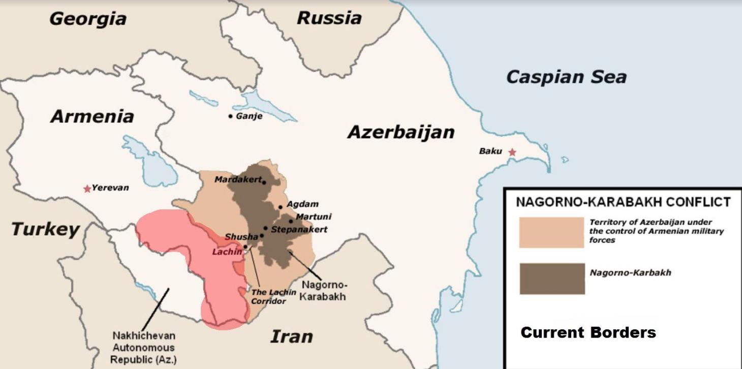 A drapp színnel jelölt területek alkották 1994-2020 között a pufferzónát, amelyet a megszálló örmény szeparatisták Karabah védelme érdekében alakítottak ki, elűzve innen az azeri lakosságot. Ezek a területek december 1-re visszakerülnek Azerbajdzsánhoz.  A sötétszürke színnel jelölt terület Hegyi-Karabah. Ennek déli része Shushával szintén Azerbajdzsánhoz kerül, mivel az azeri csapatok elfoglalták a 44 napos háború során.  A rózsaszínnel jelölt terület Zangezur tartomány, amely Örményország része. Ezt szeretné még kihasítani Azerbajdzsán, török támogatással, hogy létrejöhessen a területi összeköttetés Nahicsevánnal #moszkvater
