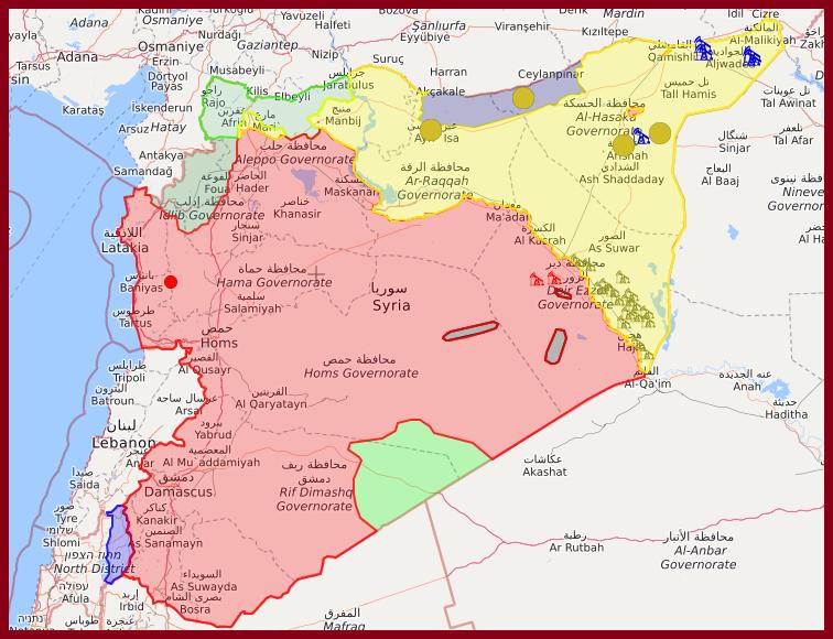 Szíriai frontvonalak ma (piros: szíriai kormányerők, zöld: török és iszlamista erők, sárga: kurdok, kék (északon): török hadsereg és szíriai lázadók) #moszkvater