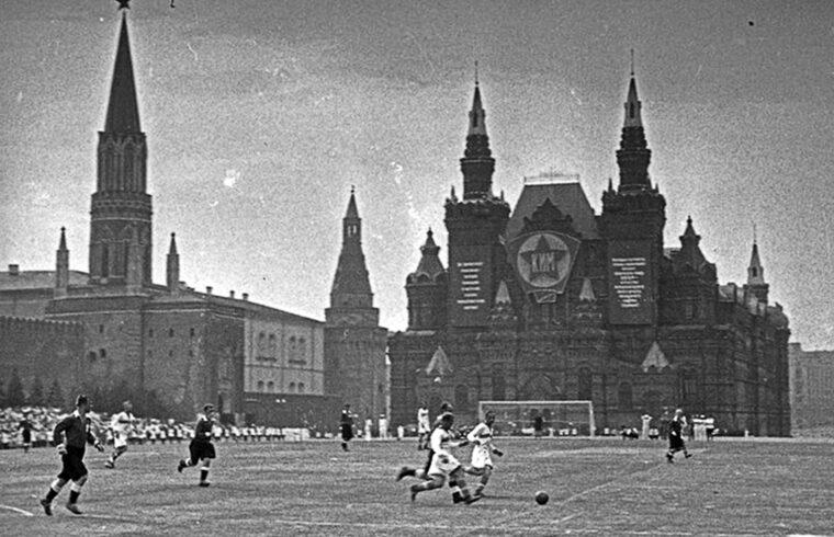 Bemutató labdarúgó mérkőzés a moszkvai Vörös téren 1936-ban #moszkvater
