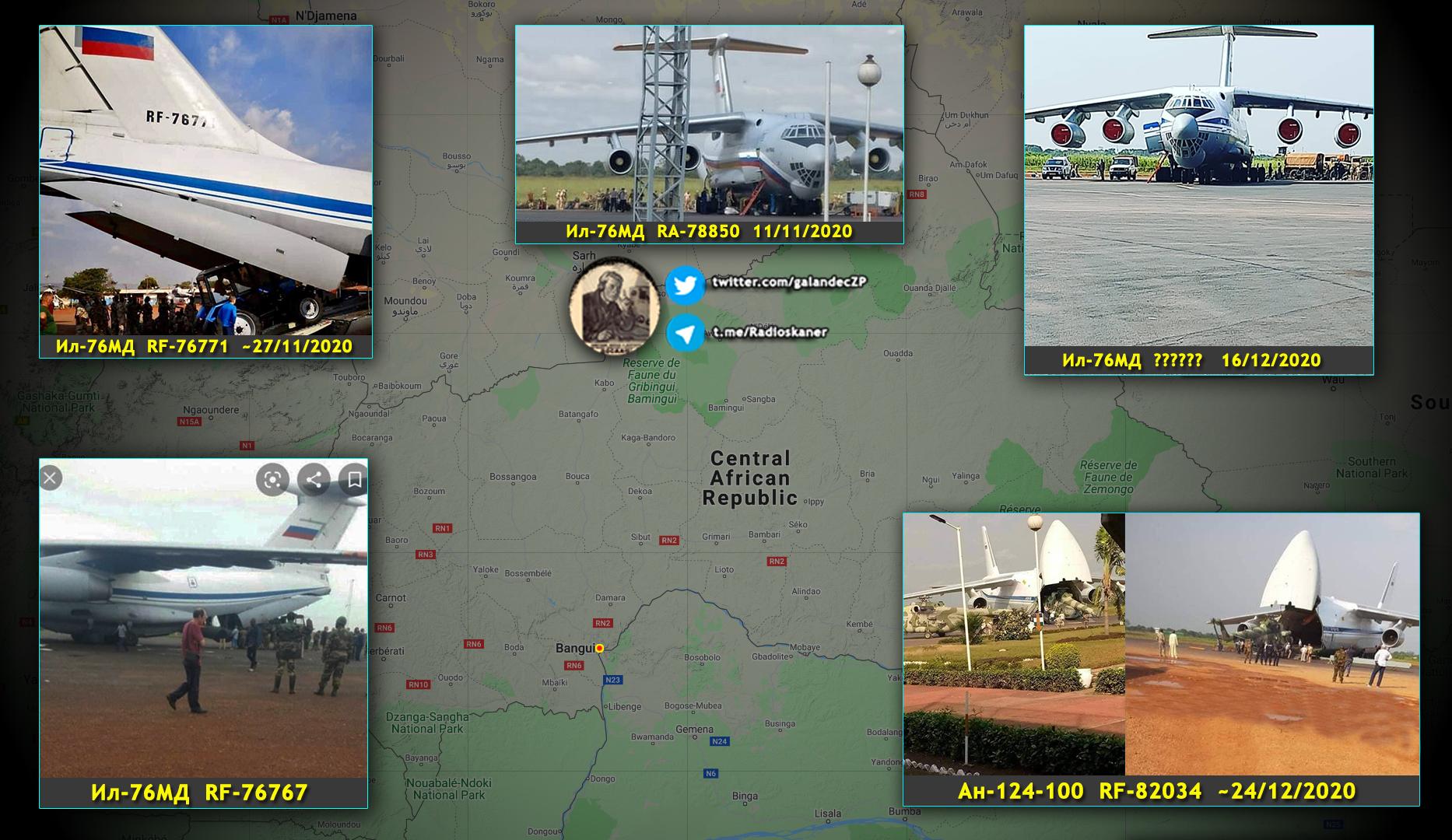 A Közép-Afrikába az elmúlt időszakban érkező orosz szállító repülőgépek és szállítmányaik #moszkvater