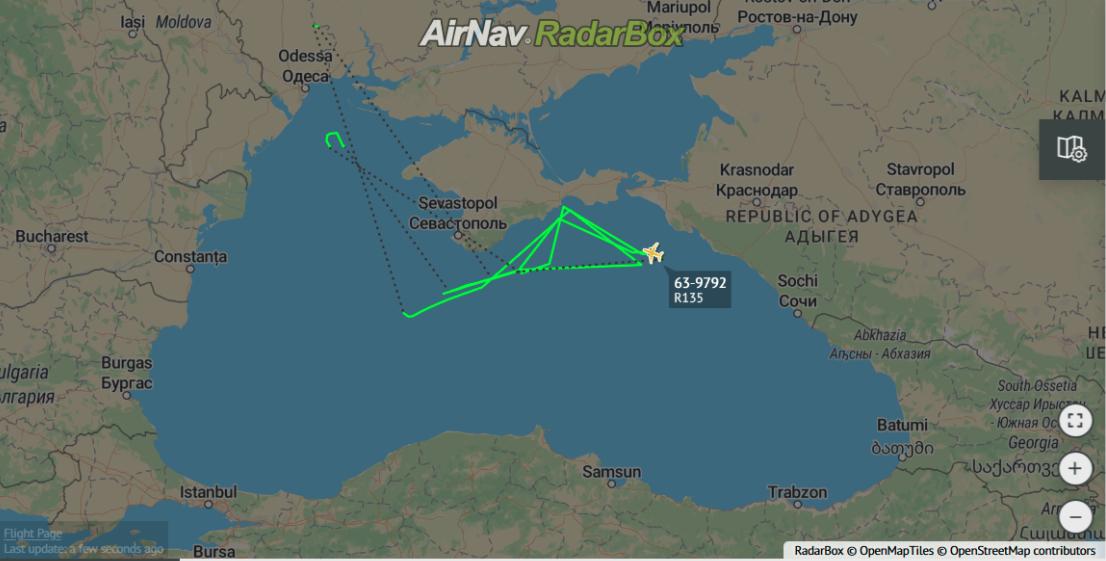 """RC-123V """"River Joint"""" elektronikus felderítő repülése közvetlenül a Krím és a Fekete-tengeri orosz partok mentén január 22-én. A gép útvonalaaz alábbi linken tekinthető meg #moszkvater"""
