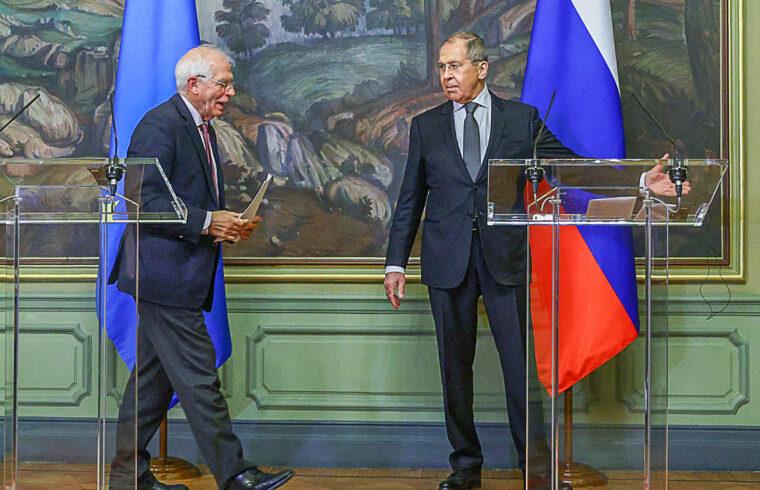 Josep Borrell európai külügyi főbiztos és Szergej Lavrov orosz külügymniniszter kozos sajtótájékoztatója, megbeszélésük után Moszkvában 2021. március 5-én #moszkvater