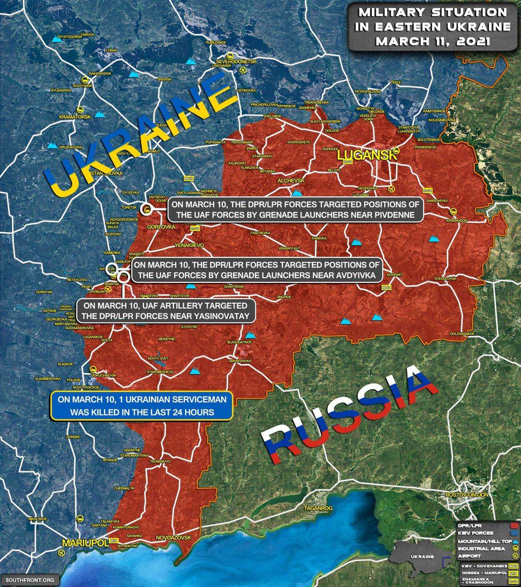 Harci helyzetkép március 11-én. Mint látható a fő összecsapások Gorlovka valamint Donyack körzetében zajlanak, utóbbi esetében felettébb közel a lakóövezetekhez #moszkvater