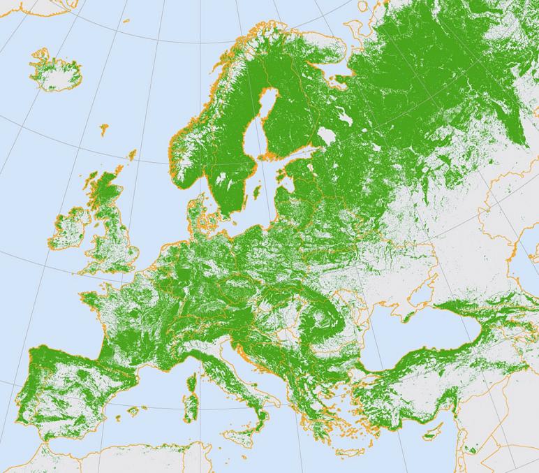 Erdővel borított területek eloszlása Európában. Mint látható főképp a dél-ukrajnai egybefüggő sztyeppei jellegű sík területek nem kedveznek az irreguláris harcmodornak. Forrás: Researchgate.net #moszkvater