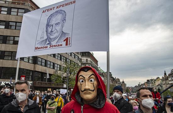 Oroszellenes tüntetés a Vencel téren Prágában 2021. április 29-én #moszkvater