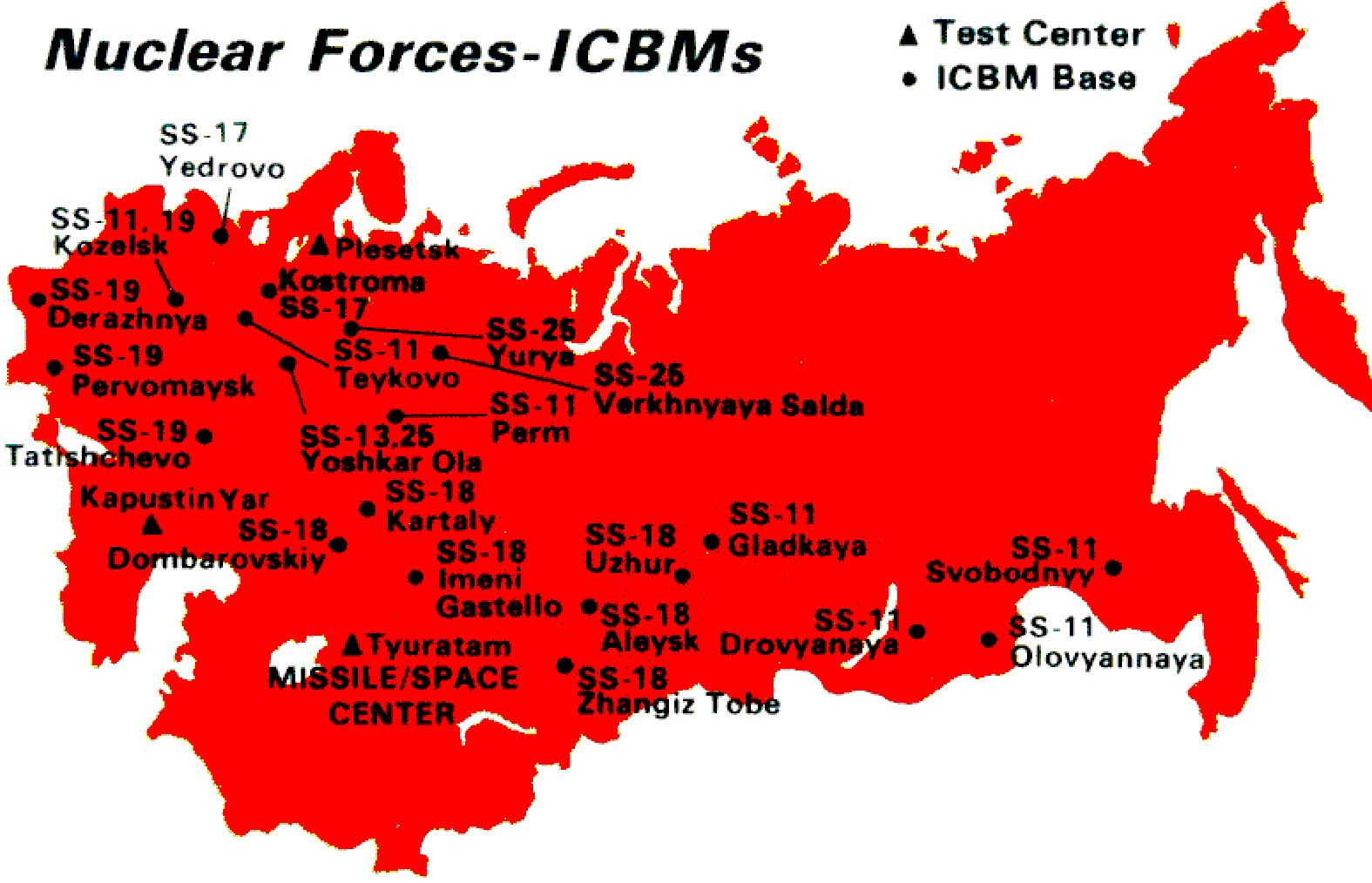 Az egykori szovjet interkontinentális ballisztikus rakéták telepítési helyszínei illetve kísérleti telepek az 1980-as években #moszkvater