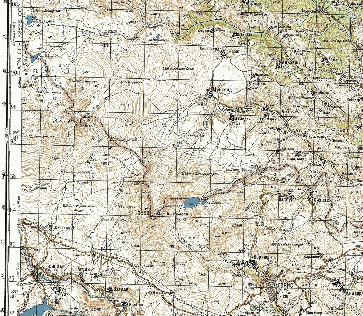 Mint látható Szevlics-tó döntő hányada az Örmény SzSzK területén helyezkedik el a Szovjet Vezérkar – Genstab – által használt 1984-es térképen #moszkvater