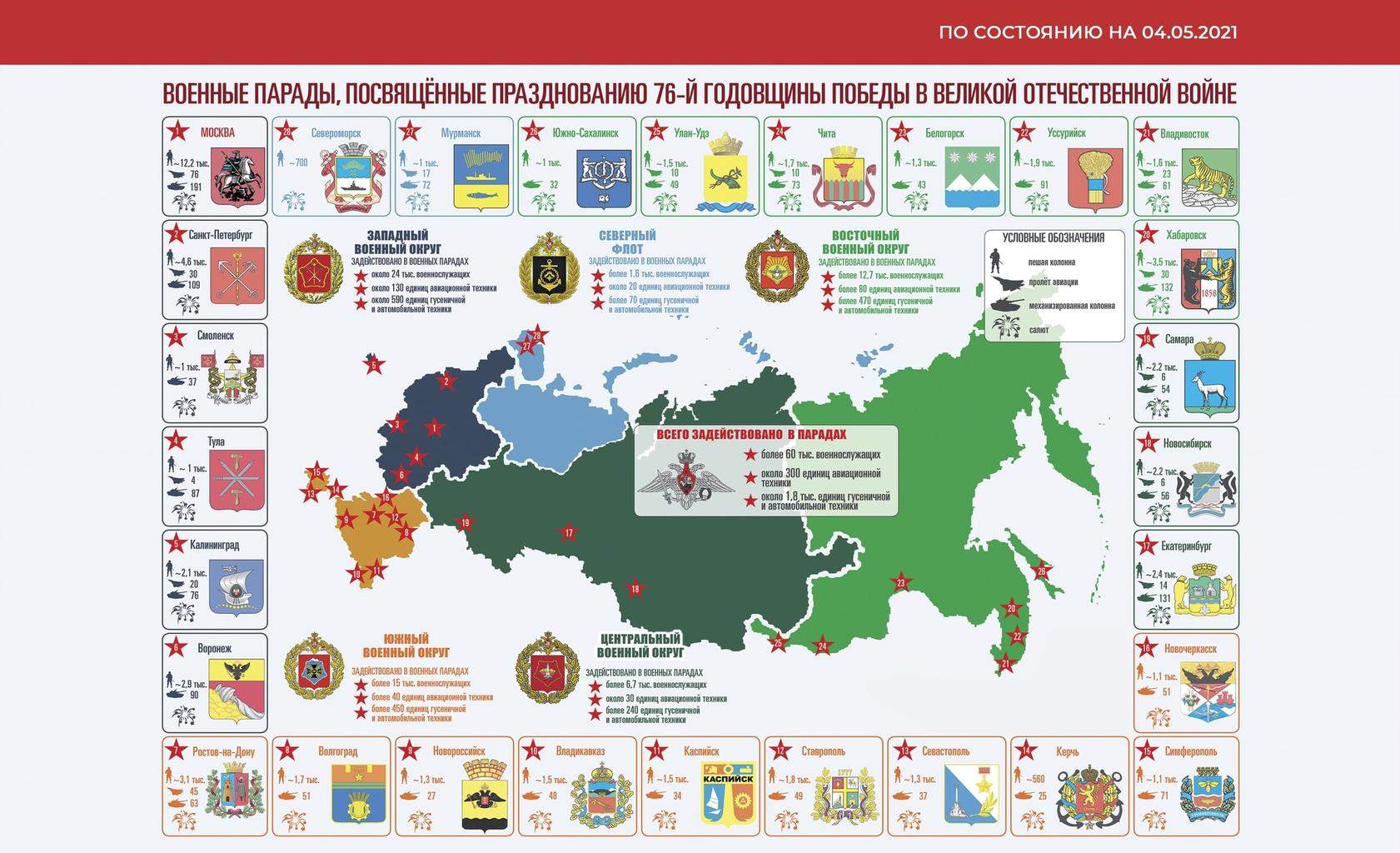 Az idei katonai parádék térképeForrás: parade.mil.ru #moszkvater