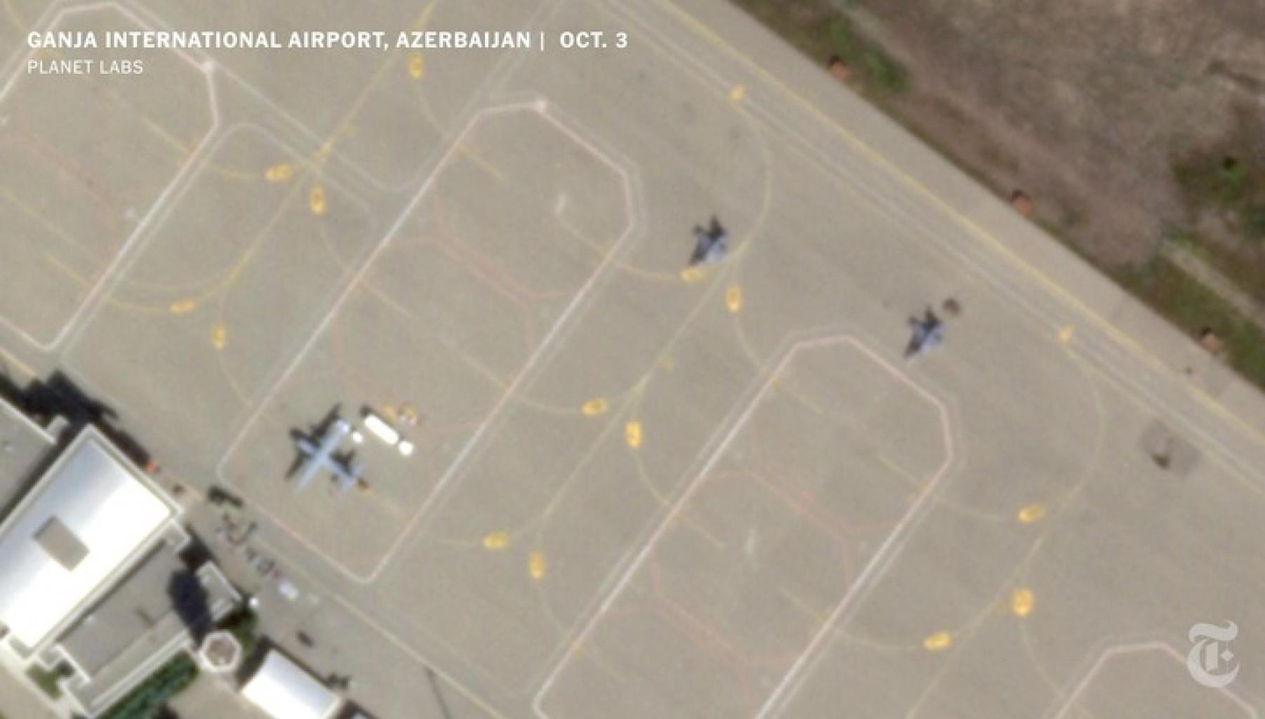 Állítólagos török F-16 vadászgépek és a kiszolgálást segítő CN-235 szállító repülőgép az azerbajdzsáni Gandzsa Nemzetközi Repülőtéren a karabahi háború idején #moszkvater