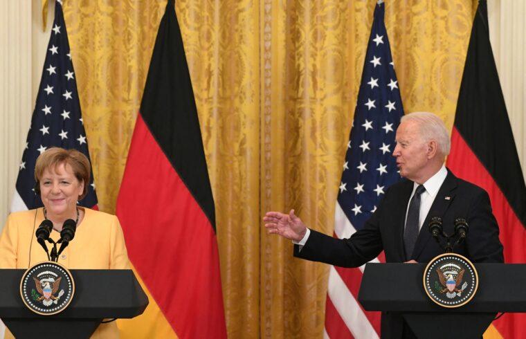 Angela Merkel és Joe Biden sajtótájékoztatója találkozójuk után a washingtoni Fehér Házban 2021. július 15-én #moszkvater