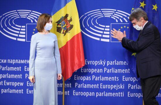 Maia Sandu és David Sassoli, az Európai Unió elnökének találkozója Brüsszelben 2021. január 19-én #moszkvater