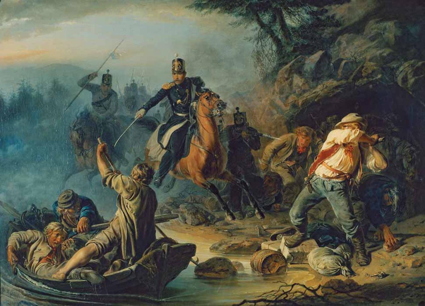 """1856 -ban Pavel Tretyakov fiatal gyűjtő megvásárolta legelső festményét - Vaszilij Kudjakov """"Harc a finn csempészekkel"""" című alkotását #moszkvater"""