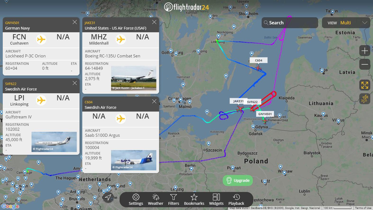 Svéd, német, és amerikai felderítők egyidejű repülése a Balti-tenger felett illetve Kalinyingrád térségében már a gyakorlatot megelőzően 2021. szeptember 7-én #moszkvater